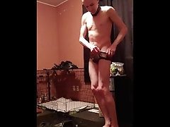 sex-slave;sex-slave-training;rubber-sleepsack;rubber-encasement;chastity;butt-plug;hairless;collared;owned,Twink;Fetish;Solo Male;Gay;Amateur;Uncut;Rough Sex Slave preparing...